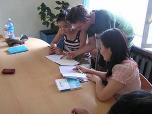 Volunteer teaching in a Mongolian school