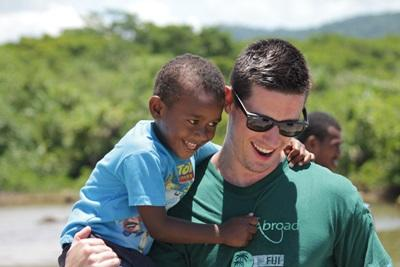 A volunteer on a short-term Care project in Fiji