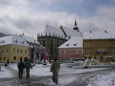 Brasov's town square in winter