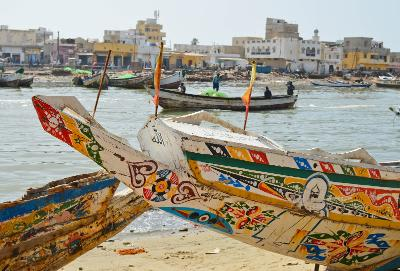 Fishing boats in Saint Louis, Senegal where Projects Abroad is based.