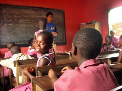 Volunteer teaching English in Ghana, Africa